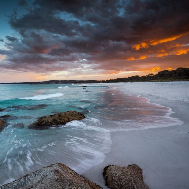 The Bay of Fires turned on a fab fiery sunsethellip